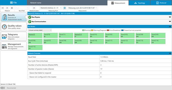 PROFIBUS Tester PB-QONE device matrix