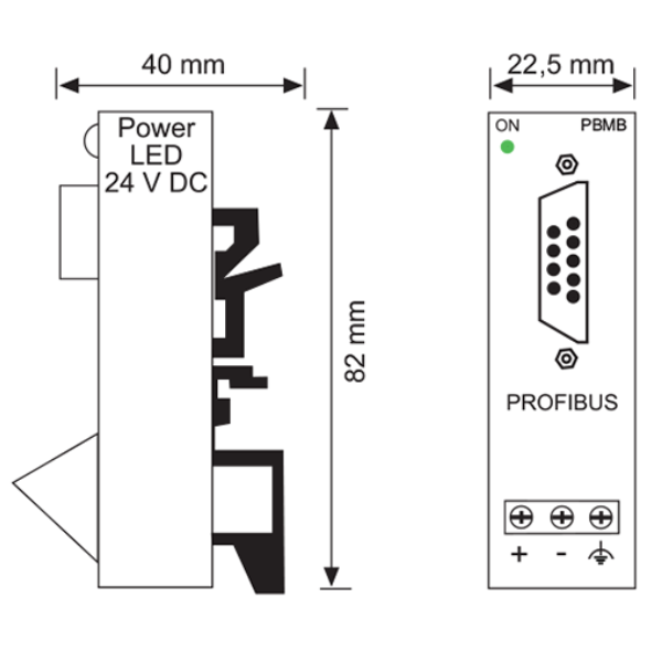 Engineering drawing of the PBMB IP20 PROFIBUS Active Adapter 110080012